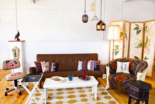 Eclectic Living Room by Evergreen Media & Bloggers Vintage Renewal
