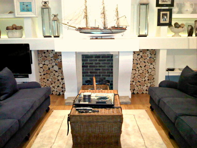 Decorative Logs In Feature Dual Alcoves