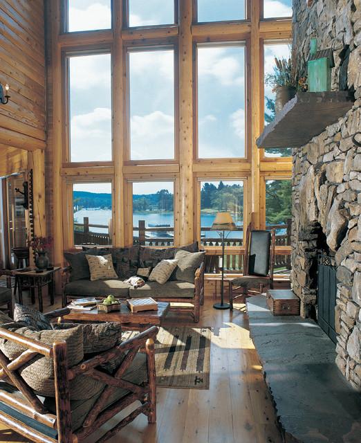 Pine Brook Boulder Mountain Residence Living Room: Deep Creek Lake, MD Waterfront Log Home
