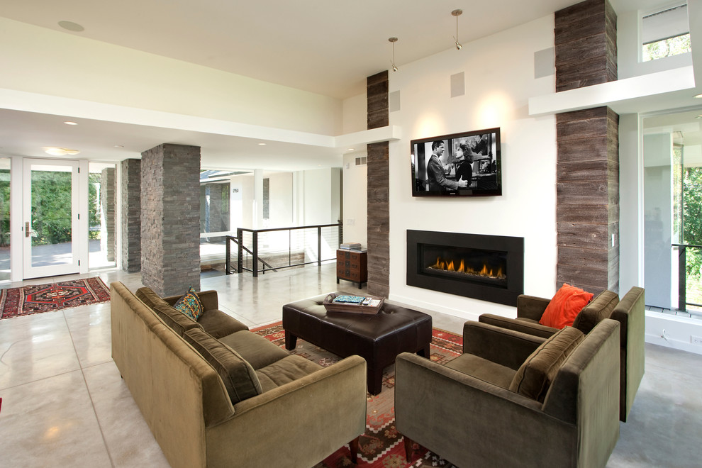 Inspiration for a contemporary concrete floor living room remodel in Minneapolis