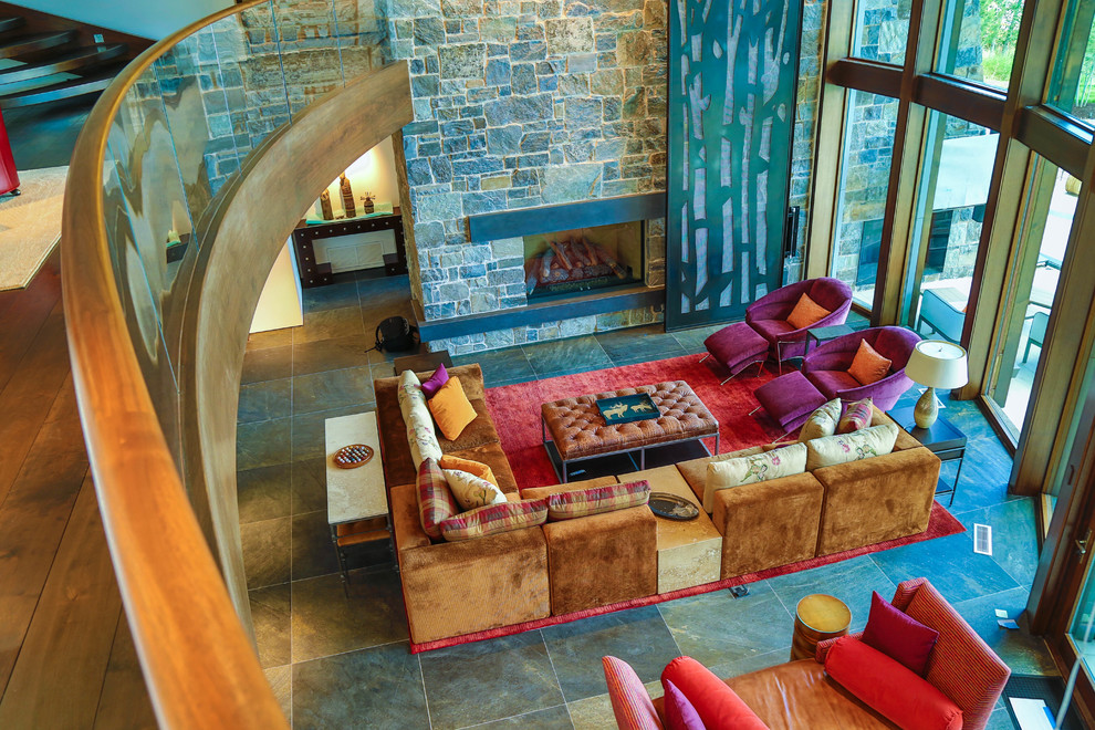 Example of a large eclectic formal and open concept ceramic tile living room design in Salt Lake City with white walls, no tv, a standard fireplace and a stone fireplace