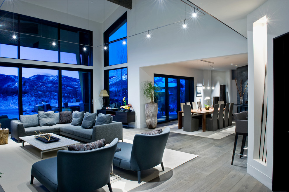 Living room - contemporary open concept gray floor living room idea in Salt Lake City with white walls