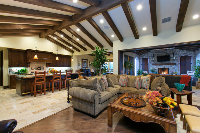 Del Sur Country House Great Room Traditional Living