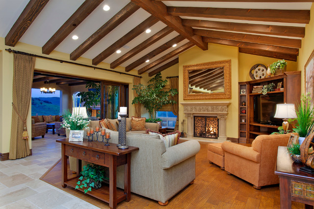 Example Of A Tuscan Formal Medium Tone Wood Floor Living Room Design In San Diego With