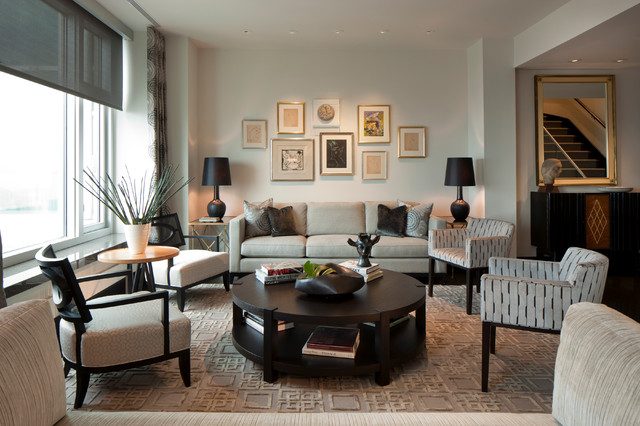 Beau Example Of A Large Transitional Living Room Design In Chicago