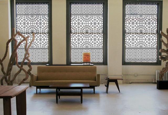 """Delia Shades' Custom Solar Shades in """"Moorish Door"""" pattern contemporary-living-room"""