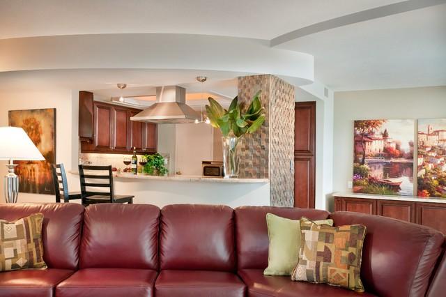 Delray Beach Oceanfront Condo Renovation tropical-living-room