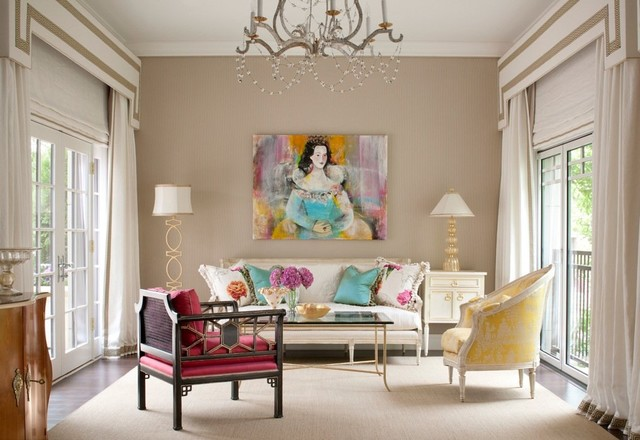 Superb Mid Sized Traditional Living Room Idea In Boston With Beige Walls