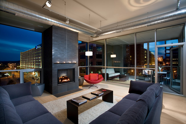 Des moines loft industrial living room minneapolis for Interior design des moines