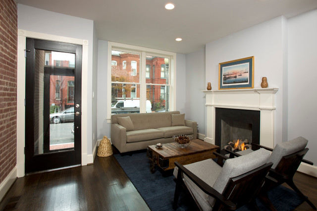 Rowhouse Renovation Transitional Living Room Dc