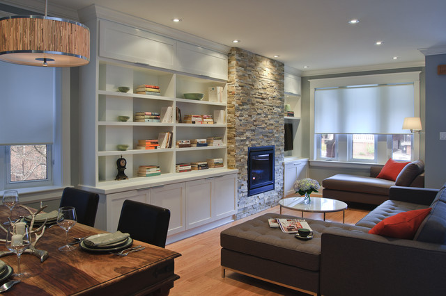 TV - Fireplace - built in wall units (Stackstone ideas)