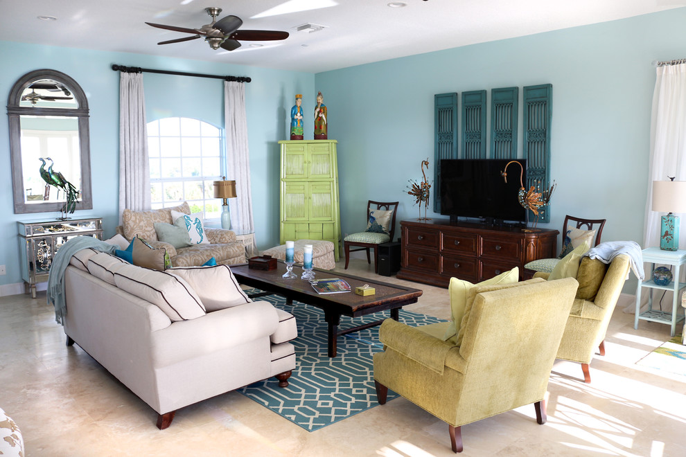 Inspiration for an asian living room remodel in Miami