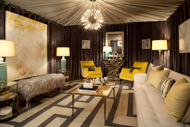 Inspiration For A Mid Sized Contemporary Formal And Enclosed Carpeted Living  Room Remodel In Houston