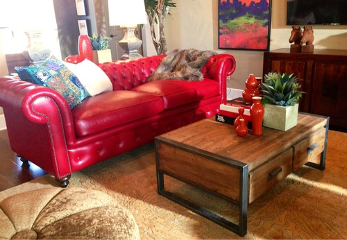Designed by Gallery Furniture- Austin Home - VALENTINE POMEGRANATE LEATHER SOFA