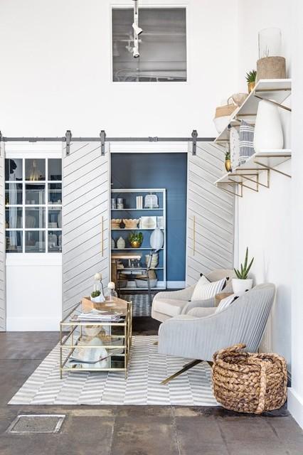 Designer Barn Doors Industrial Living Room Orange