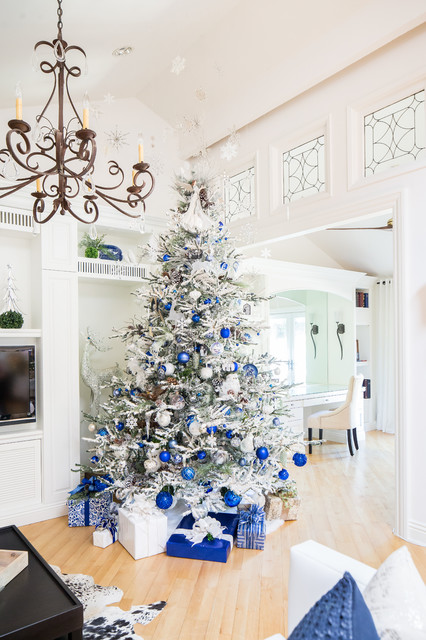 Designers White And Blue Christmas Tree Transitional Living Room San Diego By Robeson Design