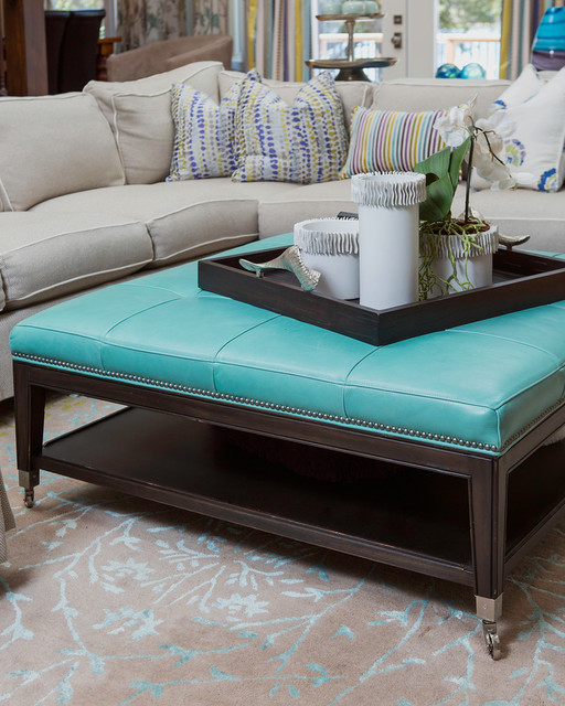 Details Of Sectional Amp Turquoise Leather Ottoman