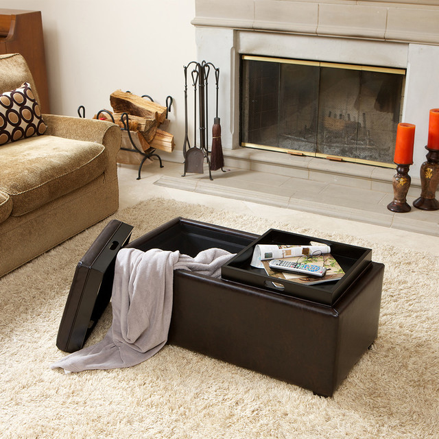 Captivating Devonshire Brown Leather Tray Ottoman Contemporary Living Room