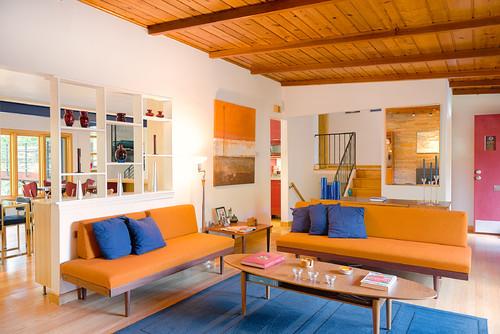 μπλε, πορτοκαλί, διακόσμηση, αντίθεση, σαλόνι