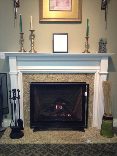 Direct vent gas fireplace and wood mantel traditional for Fireplace surrounds for gas fires