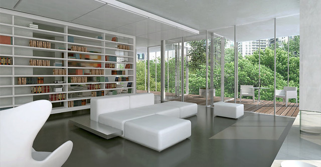 Dirk Denison Architects modern living room