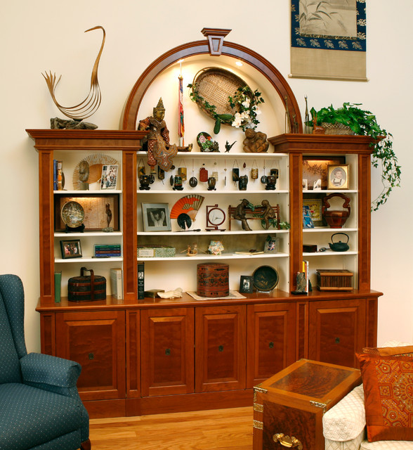 display cabinet traditional living room new york by essential home artisans design center. Black Bedroom Furniture Sets. Home Design Ideas