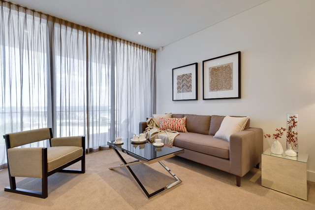 Living room - mid-sized contemporary open concept carpeted living room idea in Perth with white walls