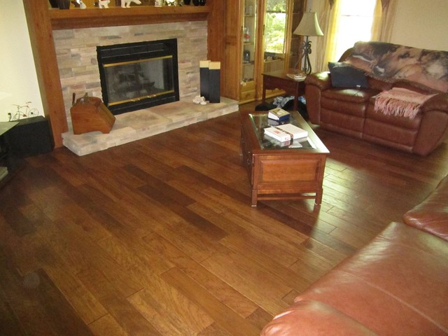 Distressed Engineered Hardwood Floors Traditional Living Room Detroit