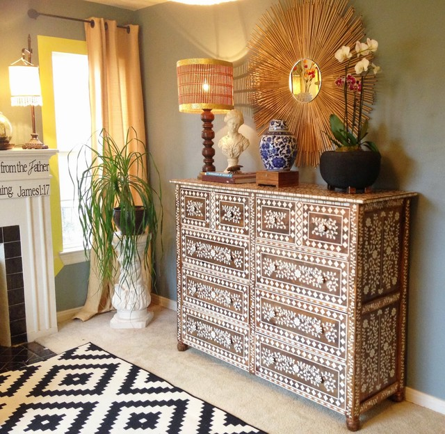 DIY Anthropologie Inspired Bone Inlay Stenciled Dresser Living Room