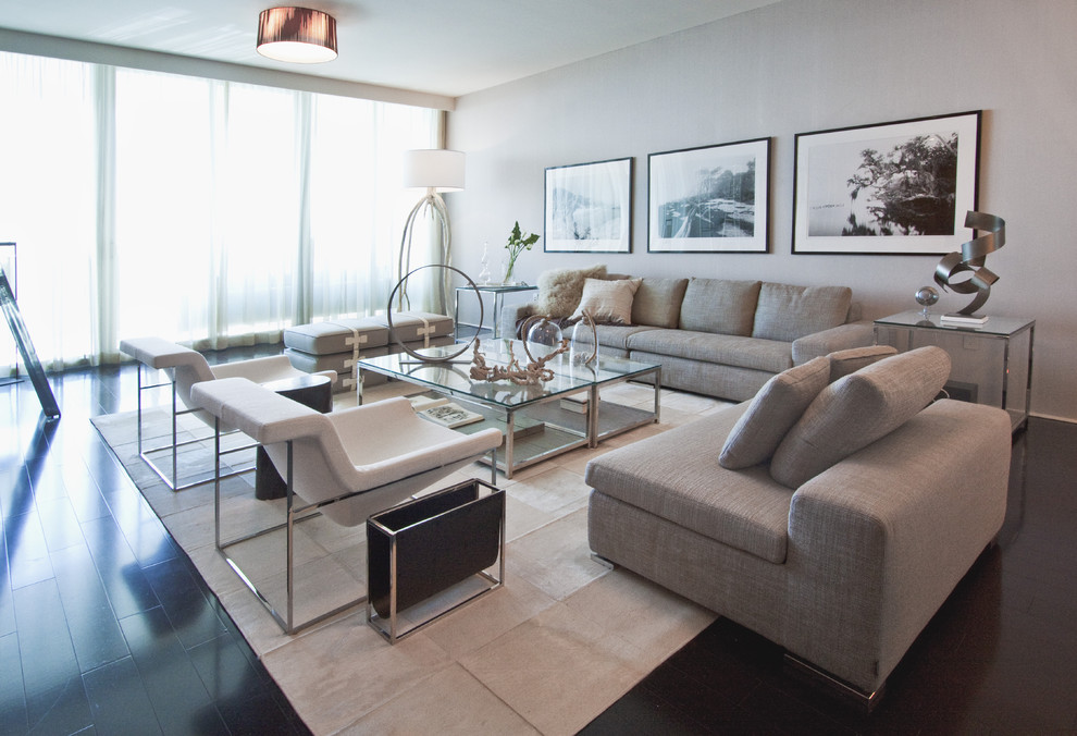 Inspiration for a large modern living room remodel in Miami with gray walls
