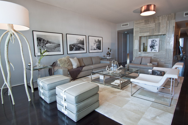 DKOR Interiors - Interior design at the Bath Club in Miami Beach, FL modern living room
