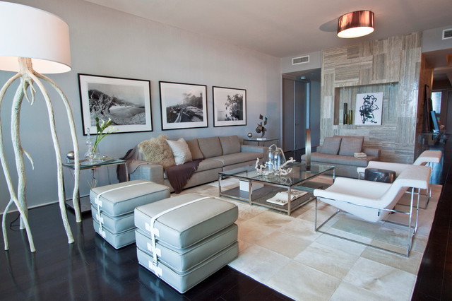 Charmant Example Of A Large Trendy Black Floor Living Room Design In Miami With Gray  Walls
