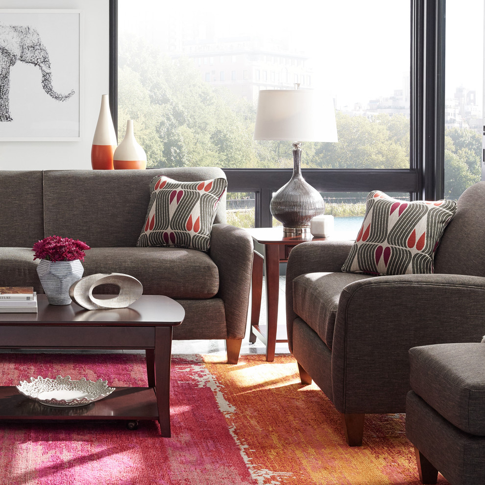 Inspiration for a contemporary living room remodel in Detroit