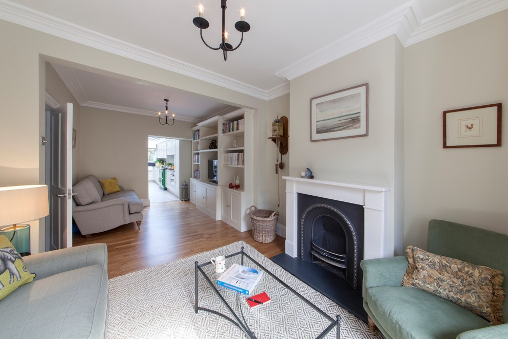 Double Reception Room In Victorian Terraced Cottage Traditional Living Room London By Caroline Browne Interior Design