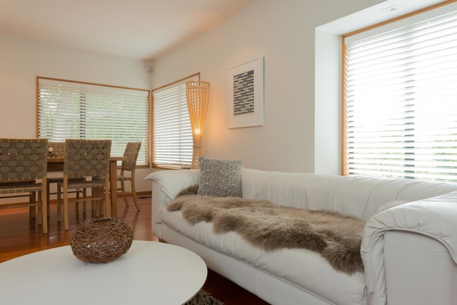 Double Taupe Sheepskin Rug Contemporary Living Room
