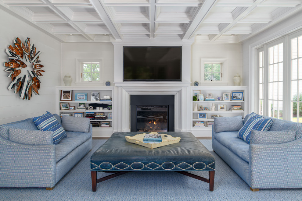 Inspiration for a nautical living room in Boston with white walls, a standard fireplace and a wall mounted tv.