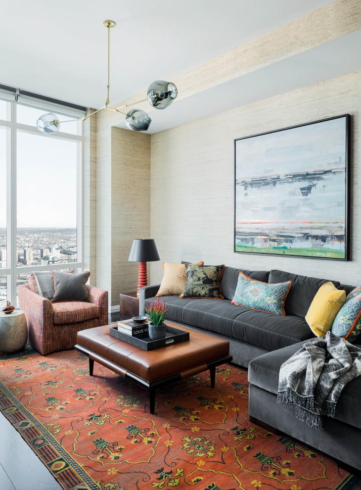 Trendy wallpaper living room photo in Boston with beige walls