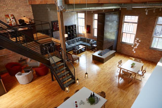 Downtown Industrial Loft Industrial Living Room