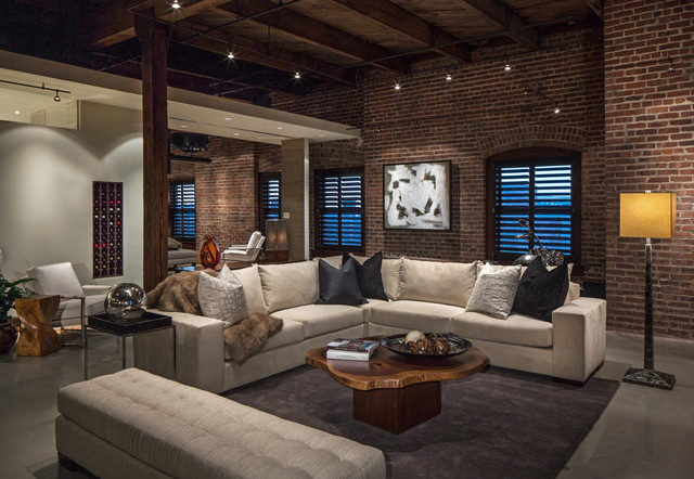 Inspiration For An Industrial Concrete Floor Living Room Remodel In Omaha
