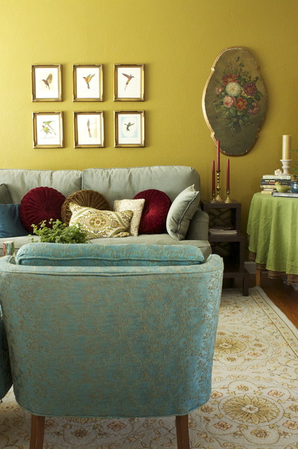 """""""Dragonwell"""" Green Living Room eclectic-living-room"""