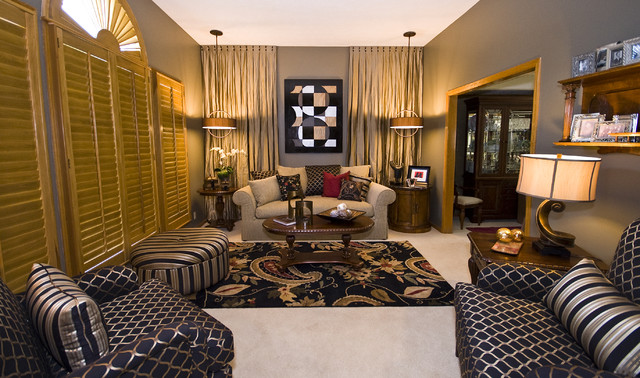 Dramatic living room for Arvida decoration inc