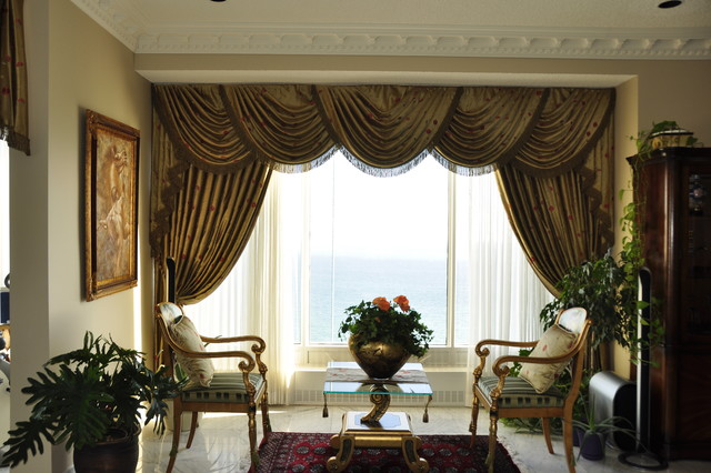 Traditional Living Room Window Treatments drapery, curtains, and window coverings - traditional - living