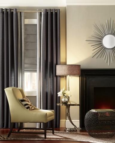 Drapes And Roman Shades Contemporary Living Room