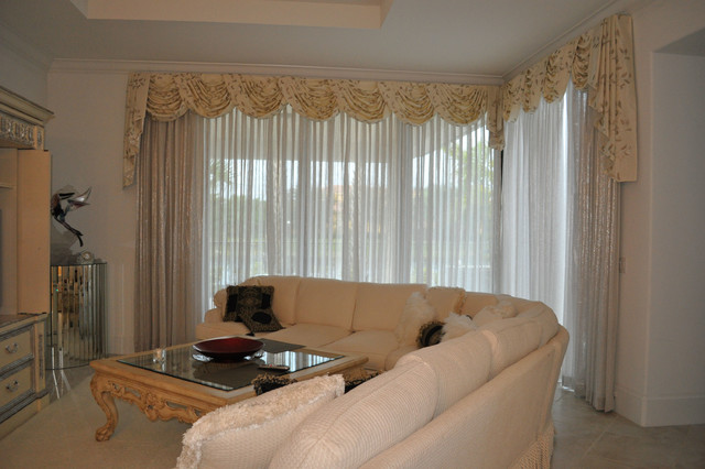 Draw Drapes Sheers Transitional Living Room