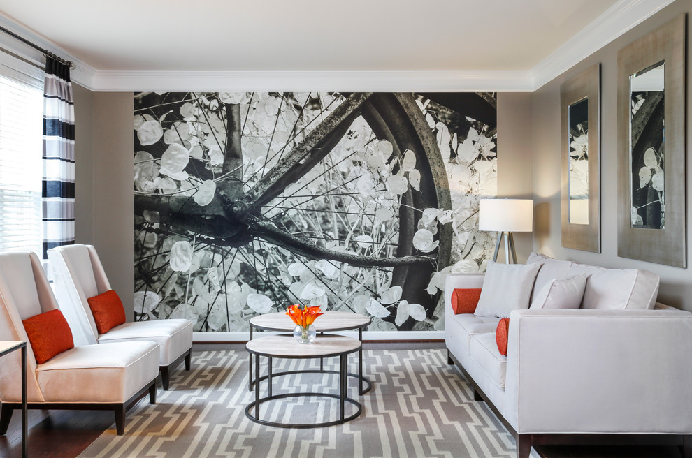 Inspiration for a contemporary formal dark wood floor living room remodel in Baltimore with gray walls