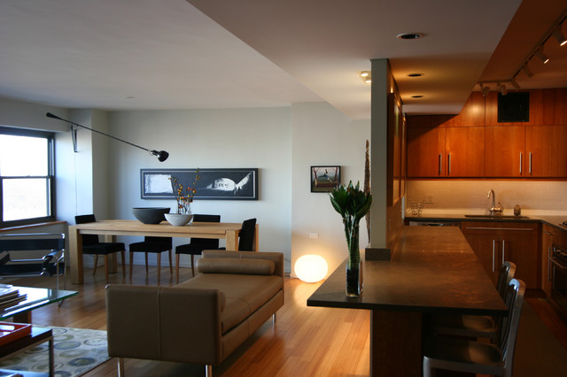 Dropped Ceiling Creates Architectural Transition Between Kitchen And Livingmodern Living Room Phoenix