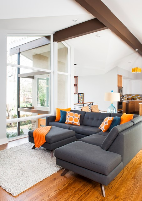 Druid hills mid century modern midcentury living room for Grey and orange living room ideas
