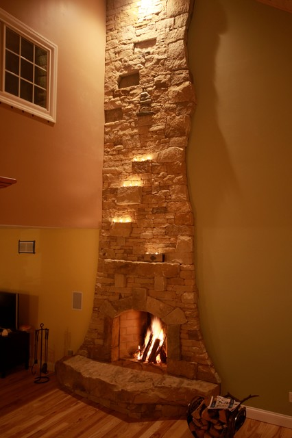 Dry Stack Stone Fireplace Eclectic Living Room Other