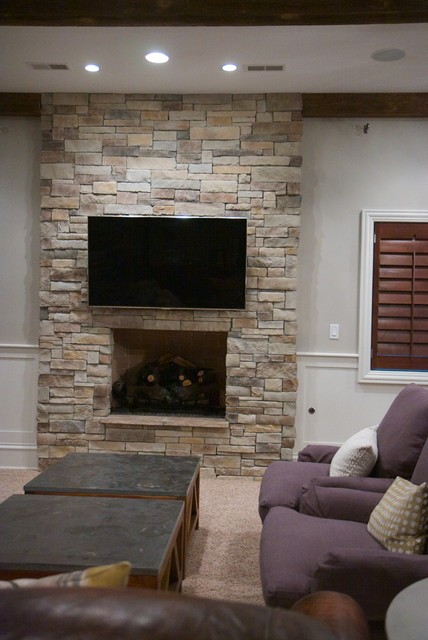 Dry Stack Stone Veneer Fireplace Traditional Living
