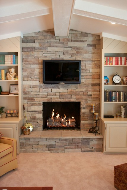 Dry Stack Stone Veneer Fireplace traditional-living-room